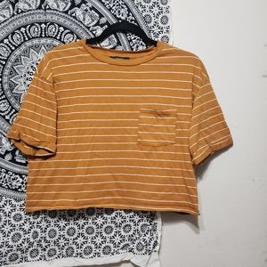 Forever 21 yellow and white thin strip cop top